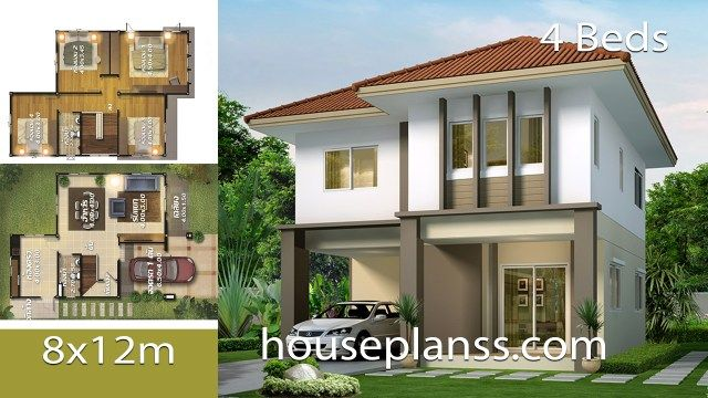 House Design Plans Design 8x12 With 4 Bedrooms Home Ideassearch Home Design Plans Modern House Plans House Design