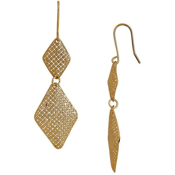Lord & Taylor 14K Italian Yellow Gold Diamond Shaped Dangling Earrings ($300) ❤ liked on Polyvore featuring jewelry, earrings, yellow gold, 14k gold earrings, fishhook earrings, 14 karat gold earrings, 14k gold jewelry and gold fish hook earrings