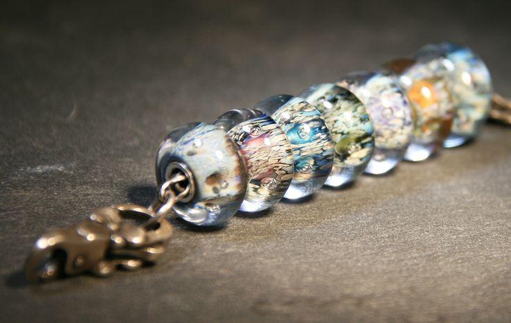 Artisan Lampwork beads for Trollbeads Anne Meiborg - bead set www.annemeiborg.etsy.com