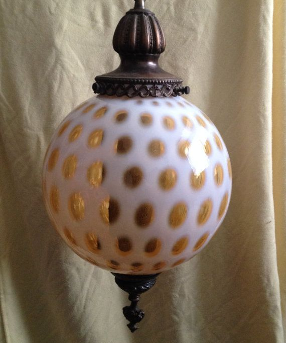 Fenton Glass Opalescent Honeysuckle Coin Dot Swag Lamp