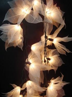 White Liladee Flower fairy light - I'm thinking with those DIY translucent leaves (and lots of piddly work) THIS would be so pretty!!!