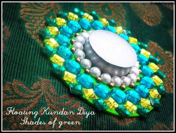 Floating Kundan Diya in green shades - DIY • Art Platter