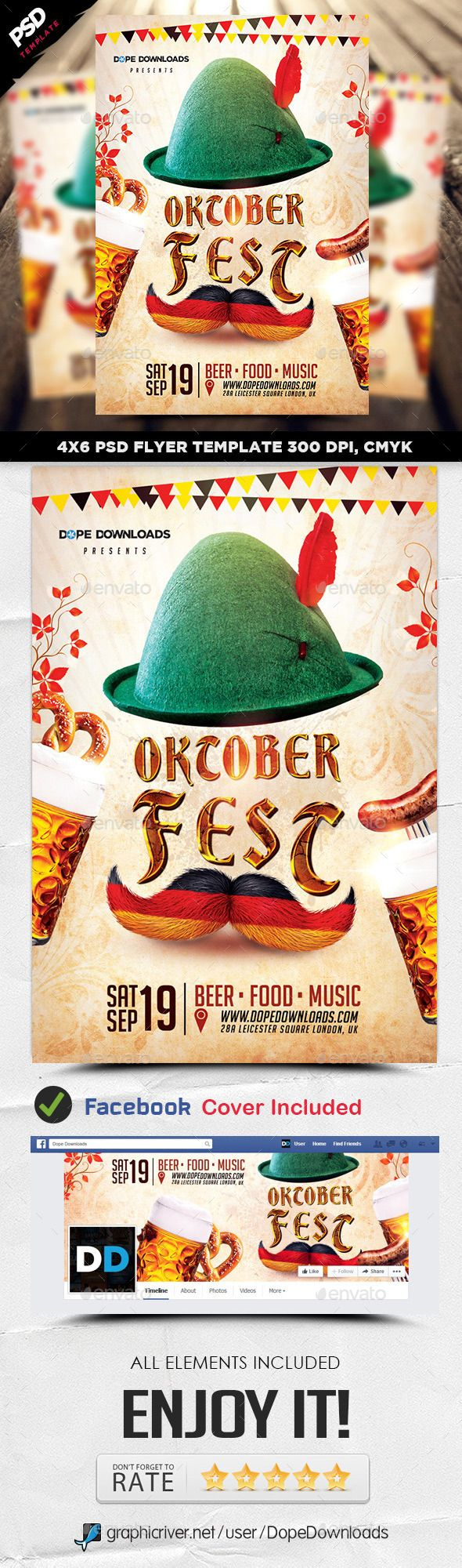 Oktoberfest 2015 Flyer Template #design Download: http://graphicriver.net/item/oktoberfest-2015-flyer-template/12712334?ref=ksioks