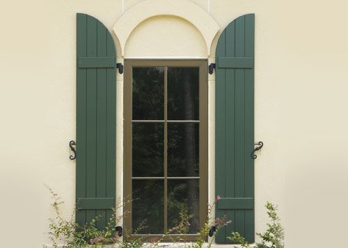 Arched Windows And Shutters Wood Exterior Shutters