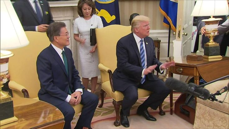 The US president calls for a firm response to Pyongyang, after talks with South Korea's leader.