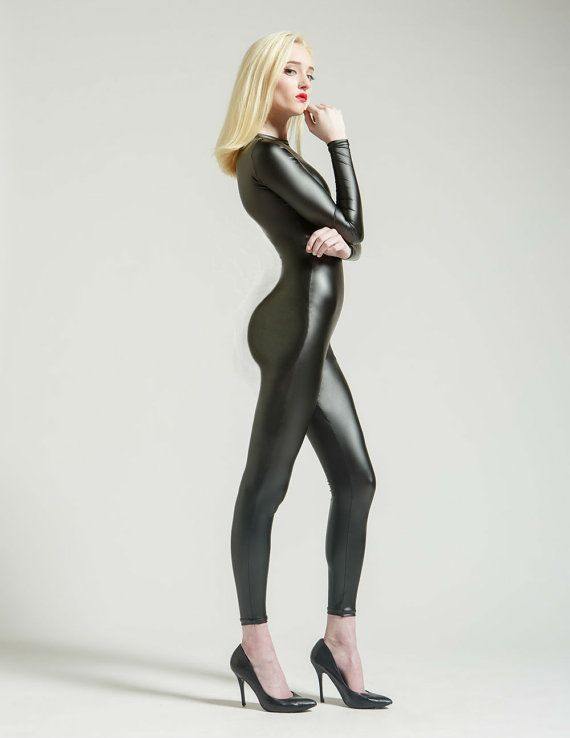 New Semi-Matte Leather-Look Perfect Black Catsuit by AliciaZenobia