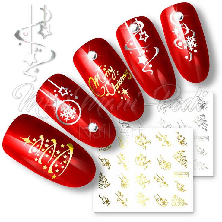 Nail Water Decals Transfers Stickers Christmas Xmas Santa Snowflakes Selection -…