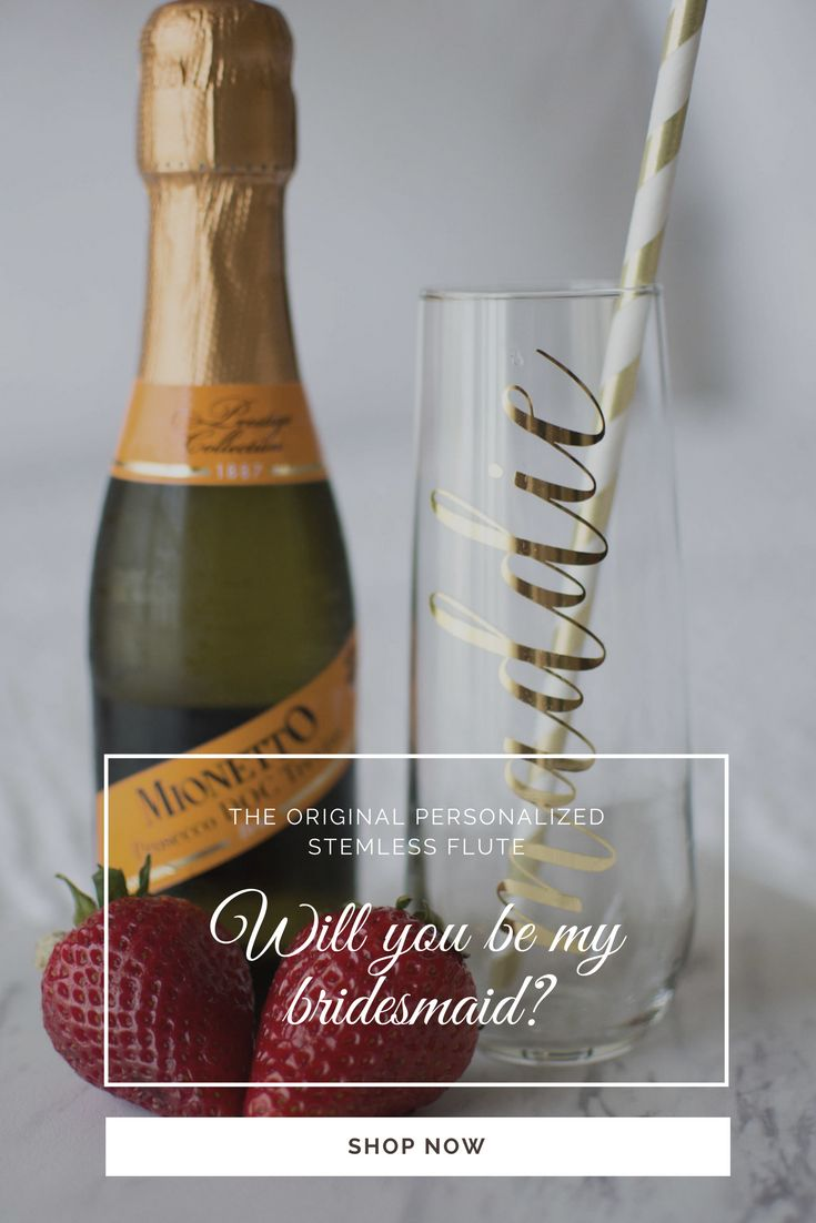 Pair our champagne flutes with a mini bottle of champagne for the perfect bridesmaid proposal box!