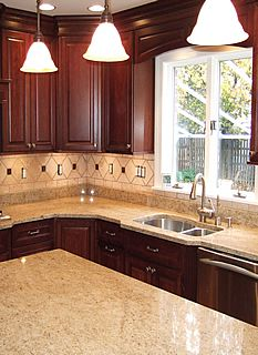 Cherry Kitchen Cabinets Design U0026 Ideas With Wood, Quartz Countertops, Gray  Walls, Backsplash, Black Granite Countertops And Light Countertops.