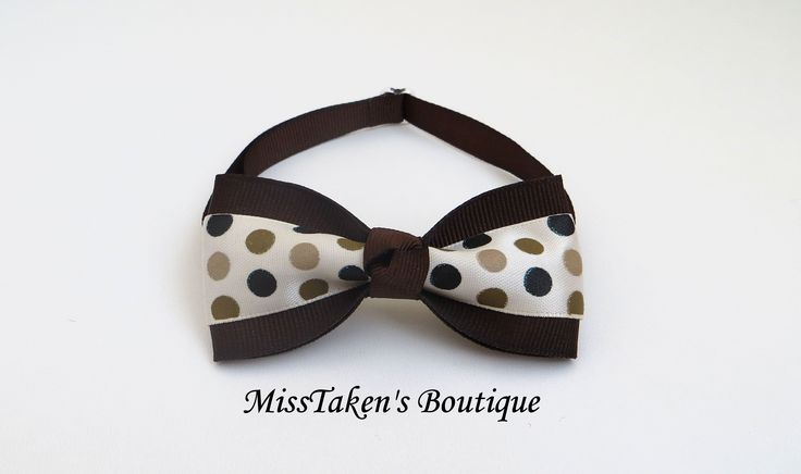"Brown+Polka+Dot+Pet+Bow+Tie  Adjustable+Neck+Size:+7.5-13""+(19-33cm)+ Bow:+8cm+x+4cm+ Collar:+1cm+Grosgrain+Ribbon+ Plastic+Hook+&+Clip+Closure  Condition:+Brand+New,+Handmade,+Lightweight+&+Comfortable  ✿+Collars+are+for+fashion+purposes+only.+Please+always+supervise+your+fur+baby+while..."