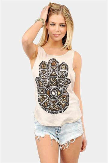 Shining Hamsa Tank with 10% off at Necessary Clothing. Promo code STUDENT10