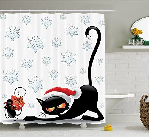 Bathroom Rugs Ideas   Ambesonne Christmas Decorations Collection Grumpy Black Cat and Mouse with Santa Hat Cartoon Snowflake Backdrop Noel Humor Decor Polyester Fabric Bathroom Shower Curtain Set 75 Inches Long Multi >>> Check this awesome product by going to the link at the image. Note:It is Affiliate Link to Amazon.