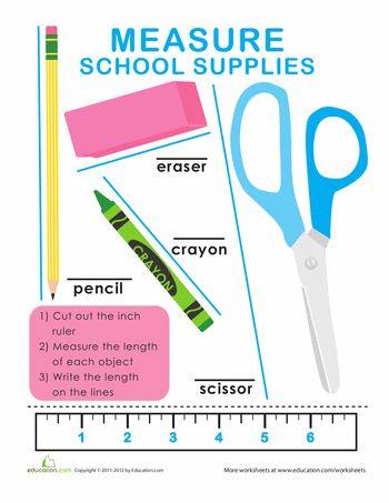 Worksheets: Length and Width: Measure School Supplies