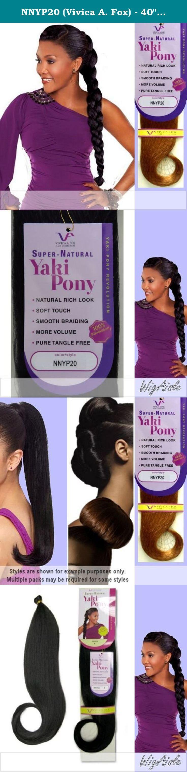 "NNYP20 (Vivica A. Fox) - 40"" Kanekalon Pony Braiding Hair in JET BLACK. 40"" SUPER NATURAL YAKI TEXTURE PONY / BRAID HAIR. 20"" folded (Color shown is 1B) - Color 1 is JET BLACK."