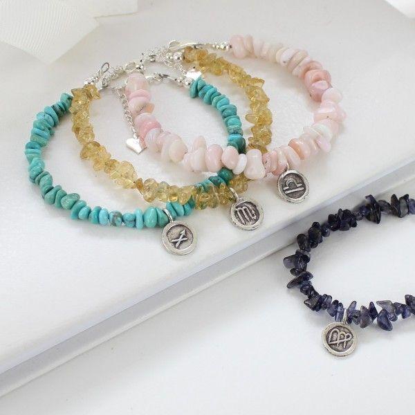 Gemstone Bracelet with Sterling Silver Zodiac Charm