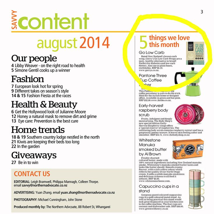 Gerry's #LowCarb wrap is top of 'Five things we love' in the Northern Advocate, August 2014.