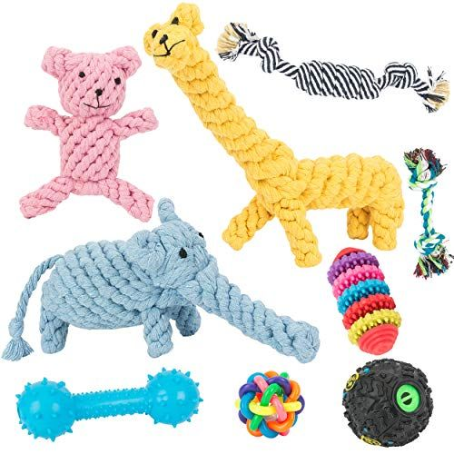 Chongai Dog Toys 10 Pack Gift Set Ball Rope Chew Squeaky Toys For