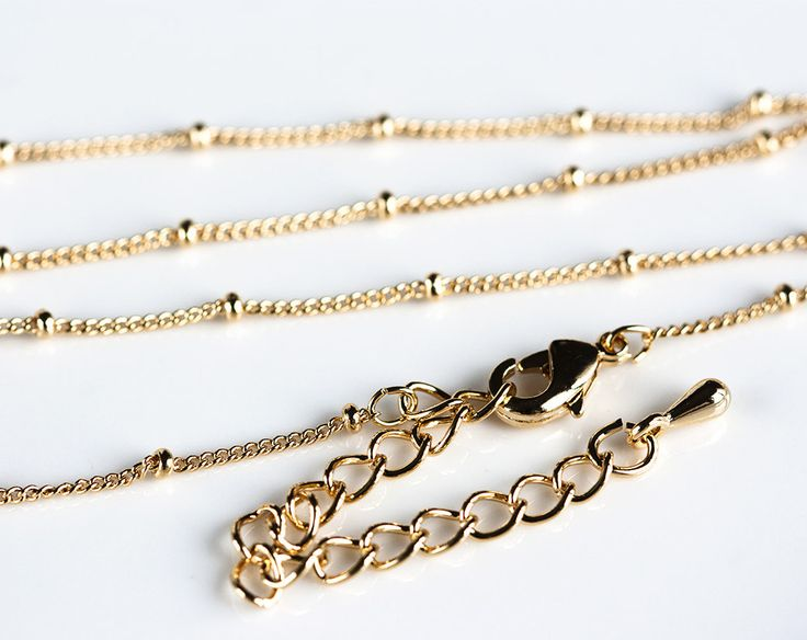 2456_Delicate ball chain 1 mm, Chain with clasp, Gold finished chain, Thin chain, Gold curb chain, Gold plated chain, Jewelry chain_1 pc. by PurrrMurrr on Etsy