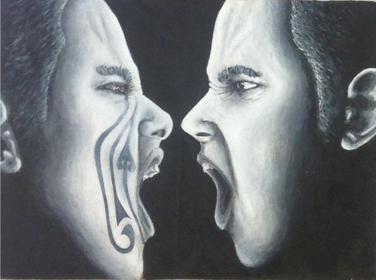 Black and white paint ( Conflict ).