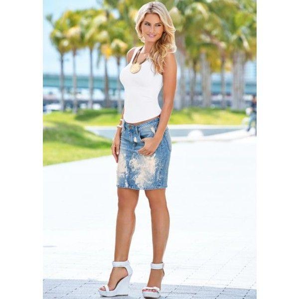 Best 20  Distressed jean skirt ideas on Pinterest | Jean skirt ...