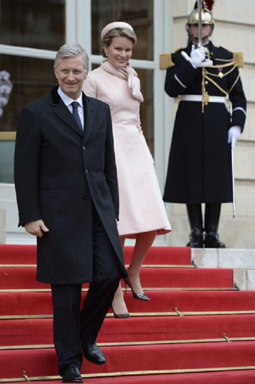 Belgium's King Philippe and Queen Mathilde during the official visit abroad of the new Belgian King and Queen, to president of the French Republic Francois Hollande in Paris, France, on 06.02.14.