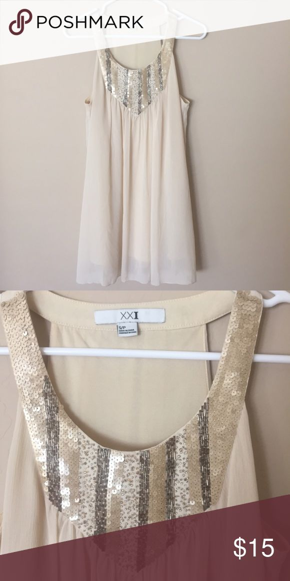 Forever 21 cream sequined dress Cream dress with sequin & beading detail. Size small, fits short. Worn once. Forever 21 Dresses