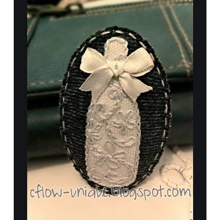 **White Embroidery Bottle Brooch**