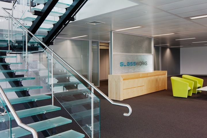 Glassworks foyer with Formed Vision custom signage and ArchiLam antislip glass staie treds