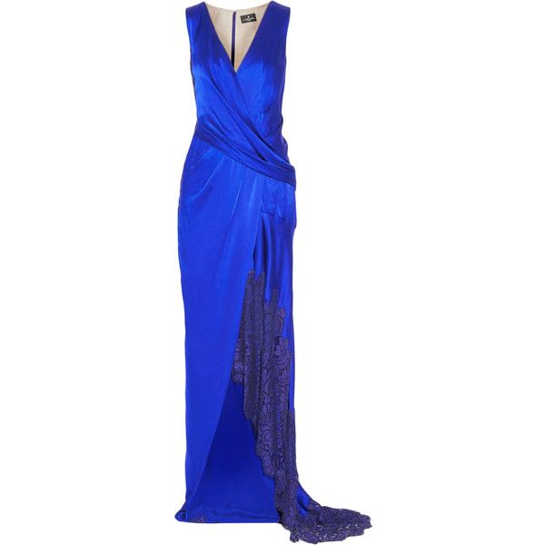 J Mendel - Draped Lace-trimmed Silk-satin Gown (1 805 AUD) ❤ liked on Polyvore featuring dresses, gowns, royal blue, royal blue ball gown, blue evening dresses, lace trim dress, corset style dress and draped evening gown