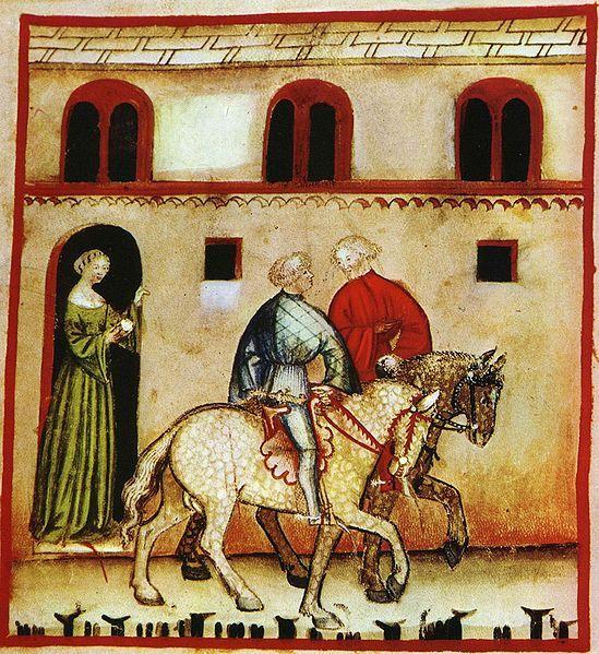 Illustration de l'équitation sur un parchemin italien du XIVème siècle
