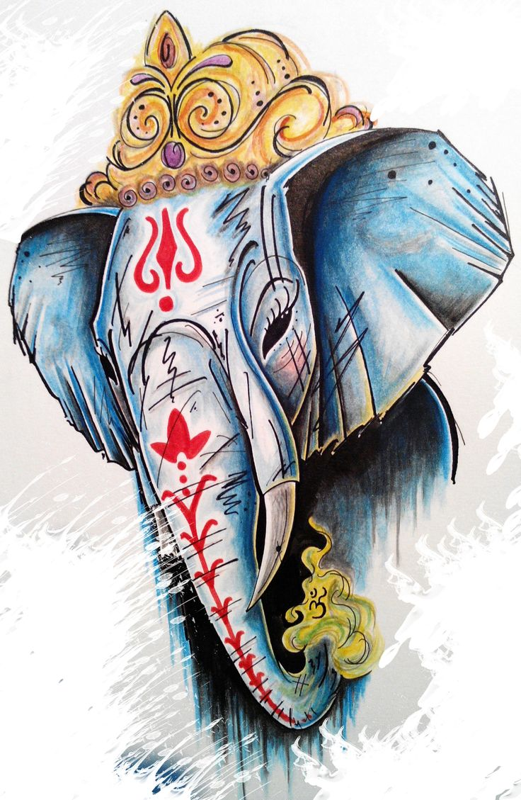 Lord ganesha multi color painting hd image - Ganesha By Joctattoo0479 Instagram Joctattoo