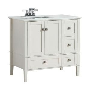 Simpli Home Chelsea 36 in. W Vanity in Soft White with Quartz Marble Vanity Top in White and Left Off Set Under Mount Sink NL-HHV029-36-2A-L at The Home Depot - Mobile
