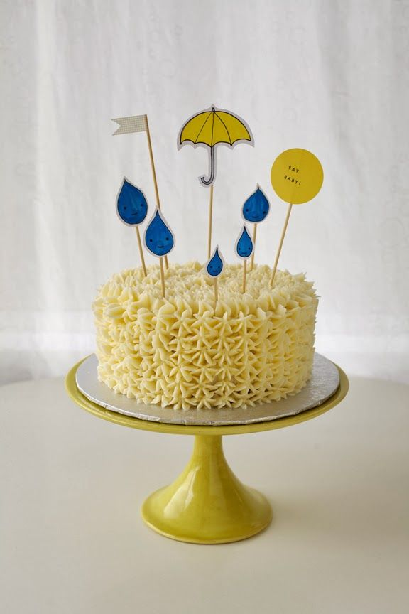 umbrella and raindrop hand drawn cake toppers - Coco Cake Land