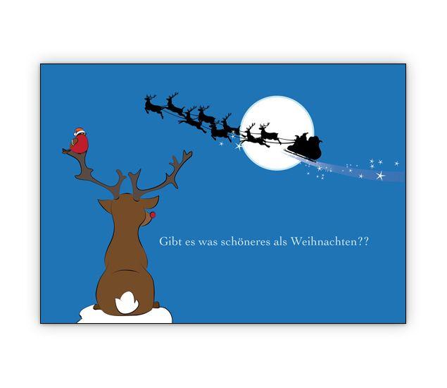 Schöne Weihnachtskarte mit Rentier und Weihnachtsmann Schlitten - http://www.1agrusskarten.de/shop/schone-weihnachtskarte-mit-kleinem-rentier-und-weihnachtsmann-schlitten/    00000_1_2381, Grusskarte, Klappkarte Rentier, Santa Sterne, Schneemann, Tanne, Weihnachtsbaum Engel, Weihnachtsmann, Winter00000_1_2381, Grusskarte, Klappkarte Rentier, Santa Sterne, Schneemann, Tanne, Weihnachtsbaum Engel, Weihnachtsmann, Winter