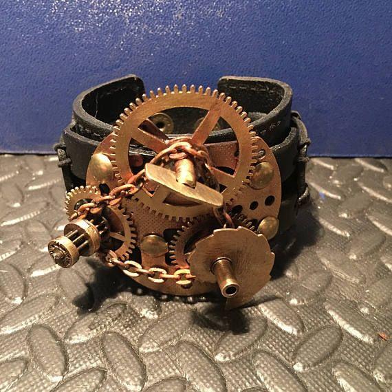 Black Leather Rustic Cuff Bracelet Steampunk Clock Work
