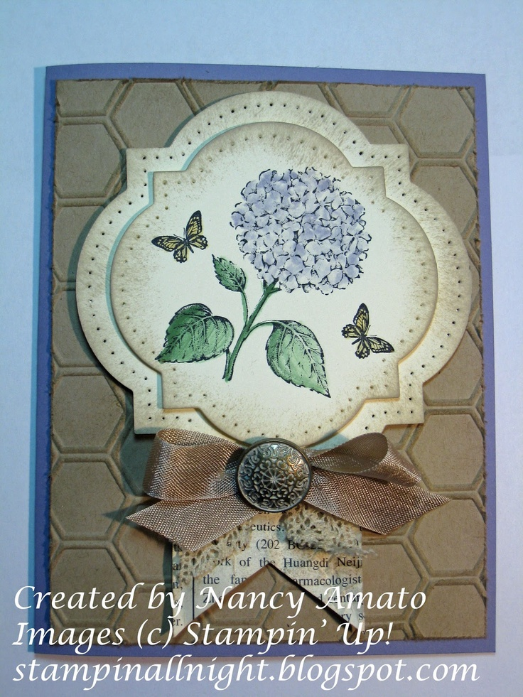 handmade card from Stampin All Night  ... luv the aged look of this card ... hydrangea from the Best of Flowers Set ... like the use of the Window Frames Framelit dies ... sponged, pierced and layered ... beautiful!! ... Stampin' Up!