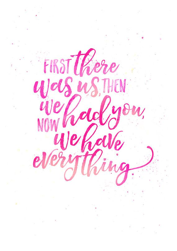 Hand lettering quote nursery print pink by ElsieInvents on Etsy