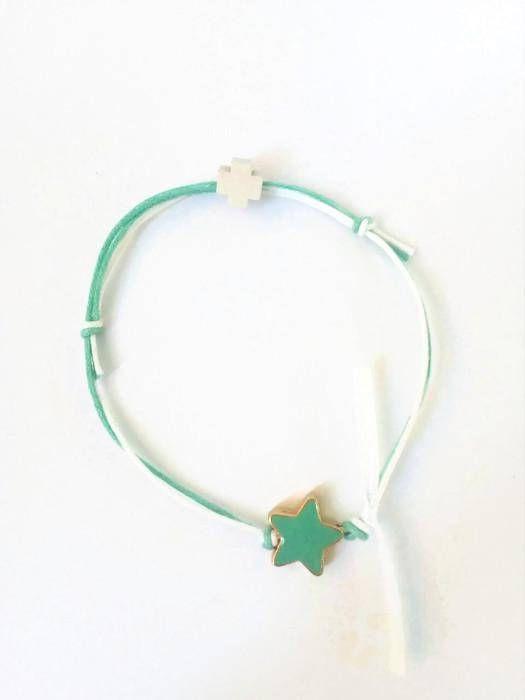 Aqua bracelet with an aqua enamel star and a wooden cross set