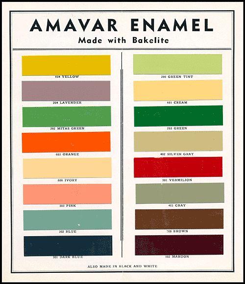 Bakelite enamels, 1920s. fashionable art deco period color palette