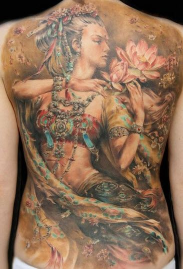 Belly dancer lotus tattoo