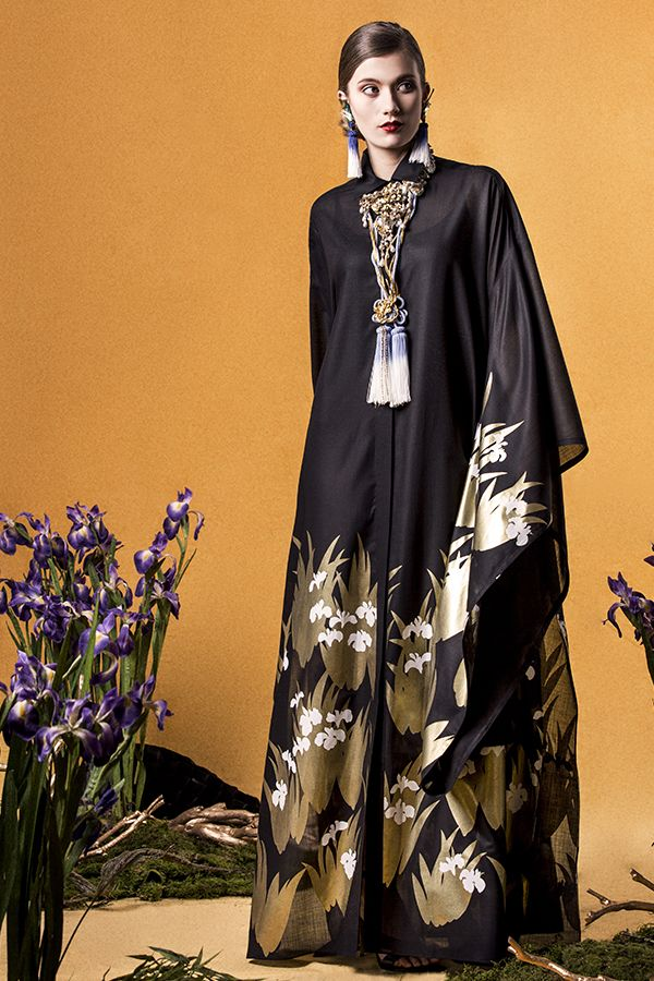 "Yumi Katsura/ ""GLORIOUS RIMPA"" SS2015 LONG IRIS SHIRT DRESS"