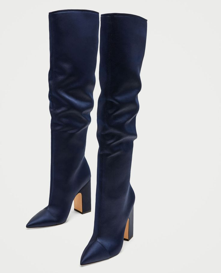 Deep blue, high-heeled, point toe, satin AND over-the-knee!
