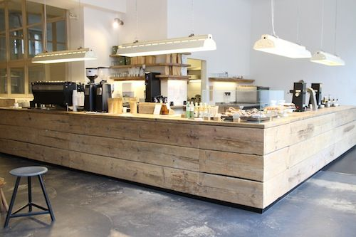 TRIED & TESTED: THE BARN ROASTERY BERLIN Could do this in a home kitchen - use old barnboards, planed.