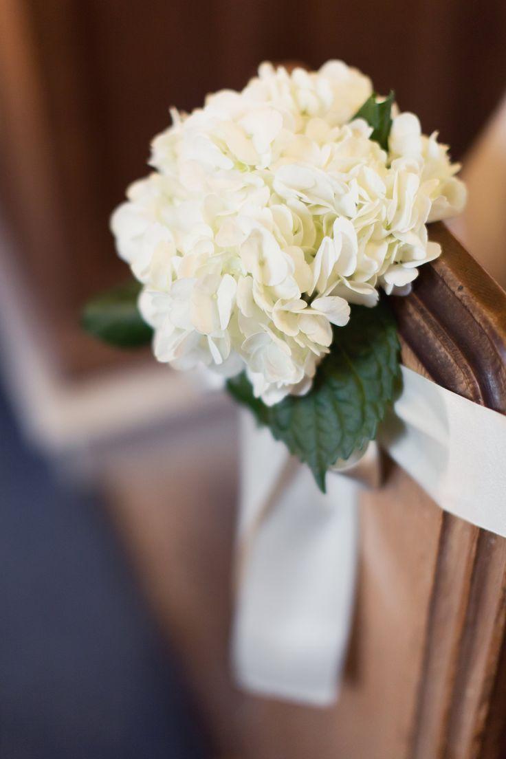 Church pew decorations - Cream Hydrangeas