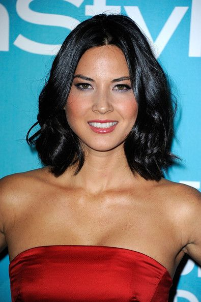 Olivia Munn (TV personality and actress) wearing her shiny mid-length bob in casually tousled waves at A Night of Firsts presented by the Hollywood Foreign Press Association and InStyle on December 7, 2011.