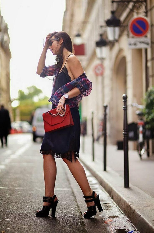 Tartan & lace street style