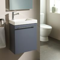 Lave-mains complet en céramique avec meuble design couleur gris souris