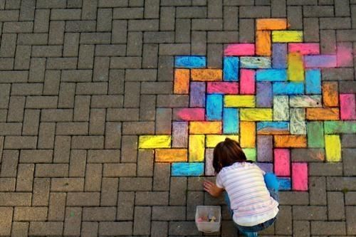 Bringing more color to the world!Go Girls, Chalk Drawing, Colors, Rainbows, Street Art, Sidewalk Chalk, Bricks, Kids, Streetart