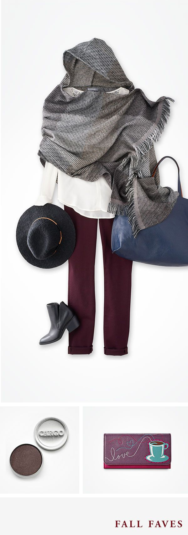 Create a fresh fall look from head to toe with some of our favorite styles. Start with a crisp white button-down shirt and wine-colored skinnies. Add an effortless, warm wrap—we love this hooded version—a brimmed, black hat and booties. A oversized tote in a deep steel blue completes the look.