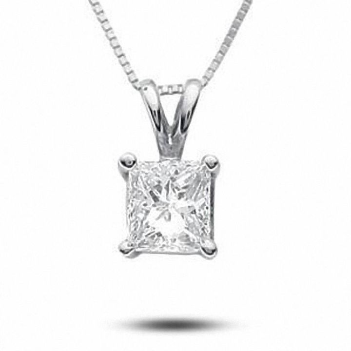 7ea8c4c18898c 1 3 CT. T.W. Certified Princess-Cut Diamond Solitaire Pendant in 18K White  Gold (I SI2)